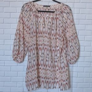 Rose & Olive Multi-color Flowy Top, Sz 1X
